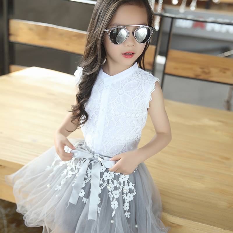 2019 Girls Clothing Sets Summer Lace Fashion Style Baby Clothes For Girls T-Shirt + Skirts 2Pcs Kids Flower Cupcake Cute Skirt 6