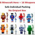 8PCS/lot Minecraft Game Brinquedo Toys Marvel Avengers Super Hero Justice League Building Blocks Action Toys Kids Gift #E