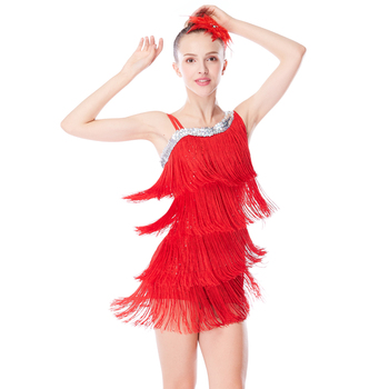 MiDee Dance Costume 4-Rows Fringes Latin Dresses For Girls High-low Neck Sequins Basement Leotard with Tassels