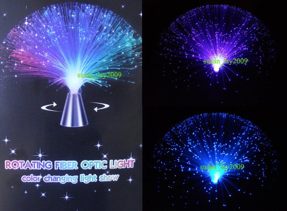 2pcs Lot Auto Revolving Color Changing Fiber Optic Lamp