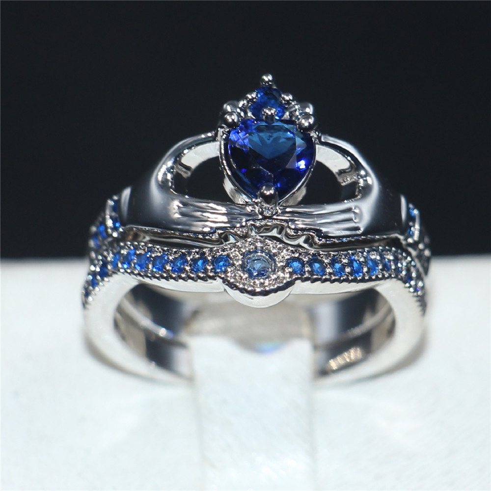 Claddagh Holding Love Heart Blue 5a Zircon Crown Wedding Ring Set Eternal  10kt White Gold Filled Crystal Jewelry Gift Size 510