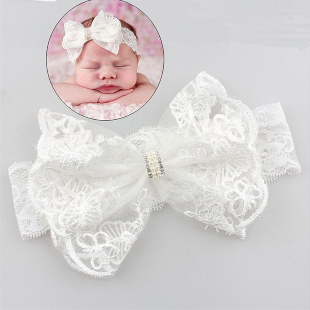 Withe Lace Crystal Bow Flower Baby Headbands for girl Elastic Baby Accessories Kids headwear Newborn hairbands photography prop(China)