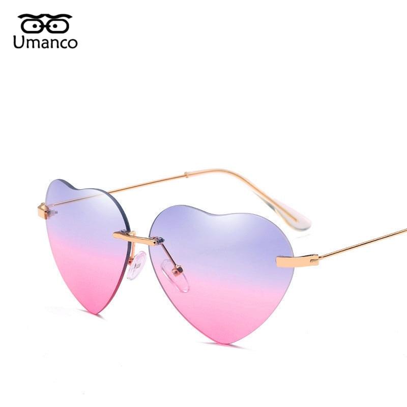 Umanco Retro Metal Love Heart Sunglasses Women Vintage Fashion Gold Frame Rainbow Lenses Shade Eyewear Girl Valentine's Day Gift