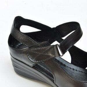 Image 4 - BEYARNE sandały gladiatorki damskie eleganckie oryginalne krowy skórzane klinowe średni obcas 4cm tkanina w kwiaty damskie buty i sandały butyse001