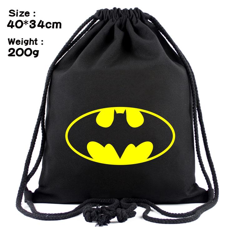 New Canvas Drawstring Bags For Women Man Super Hero Backpacks Batman Hulk Student Schoolbag Shoulder Bag Travel Beach Bag