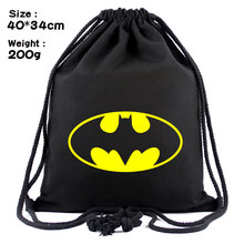 New Canvas Drawstring Bags For Women Man Super Hero Backpack
