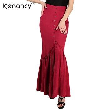 ed20dbfaa4 Kenancy Solid Button Design Pleated Elasticity High Waist Long Skirts Women  Floor-Length Red Saia All-match Four Seasons Skirt