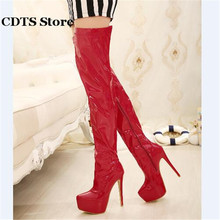 CDTS Plus:35-44 Autumn 15cm thin heels martin Over-The-Knee-high boots platform women shoes Crossdresser Patent Leather pumps