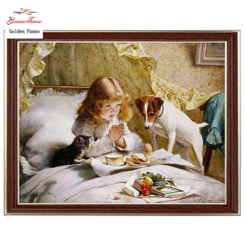 Золотые панно, рукоделие, вышивка, сделай сам портретная живопись, вышивка крестом, наборы, 14ct девушка и собака вышивка крестом, наборы для в...