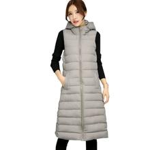 2016 New Winter Women Long Vest Fashion Cotton Padded Hooded Warm Sleeveless Down Coats Warm Waistcoat Zipper Slim Outerwear