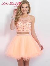 B043 Zwei Stücke A-linie/Prinzessin Kristall Homecoming Kleider 2017 Halter Chiffon-Kurz/Mini Party Vestido Cocktail Kleider