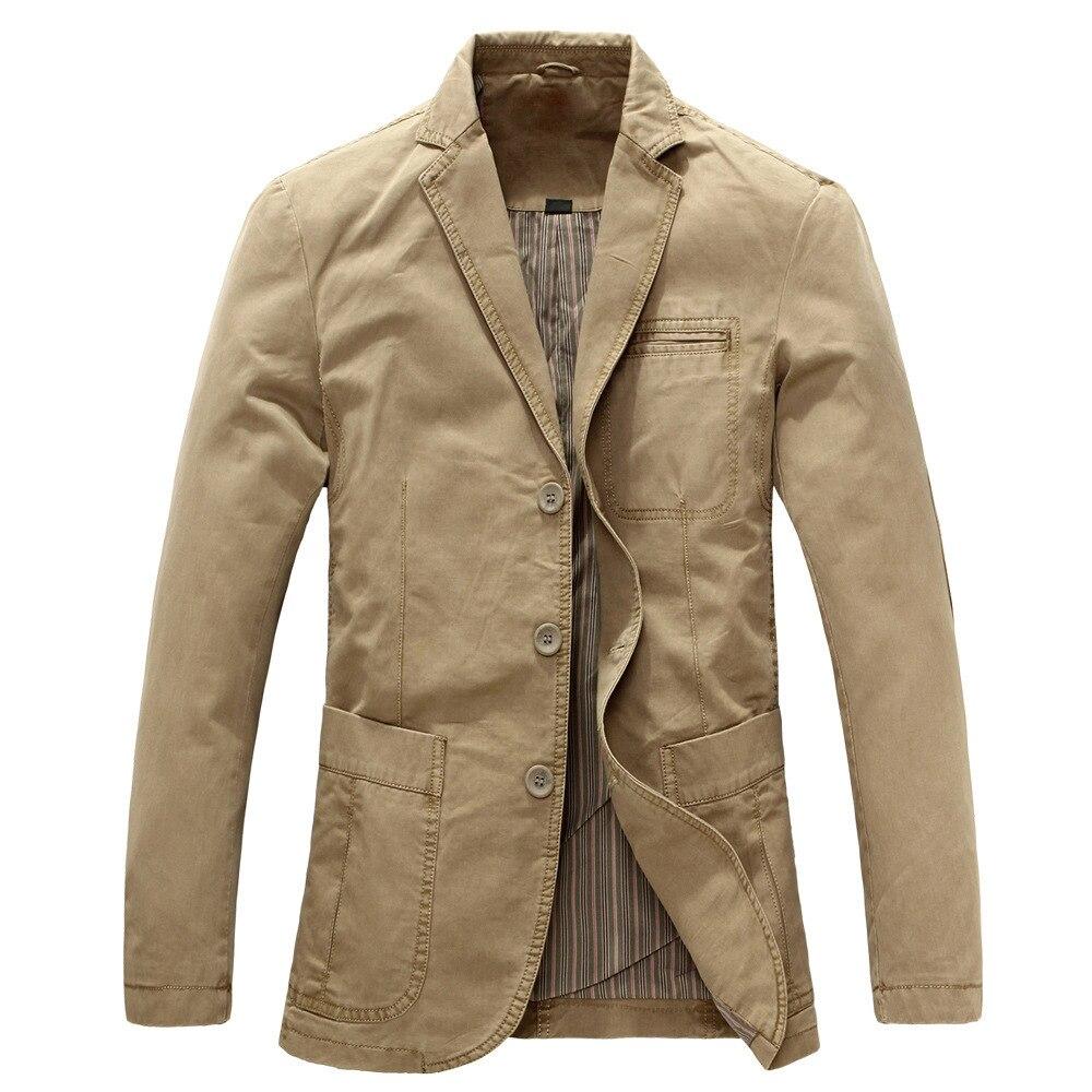 Mode hommes jolie pochette hiver automne hommes veste militaire Blazers hommes costume manteau mâle noir kaki Masculino vestes 2xl-S