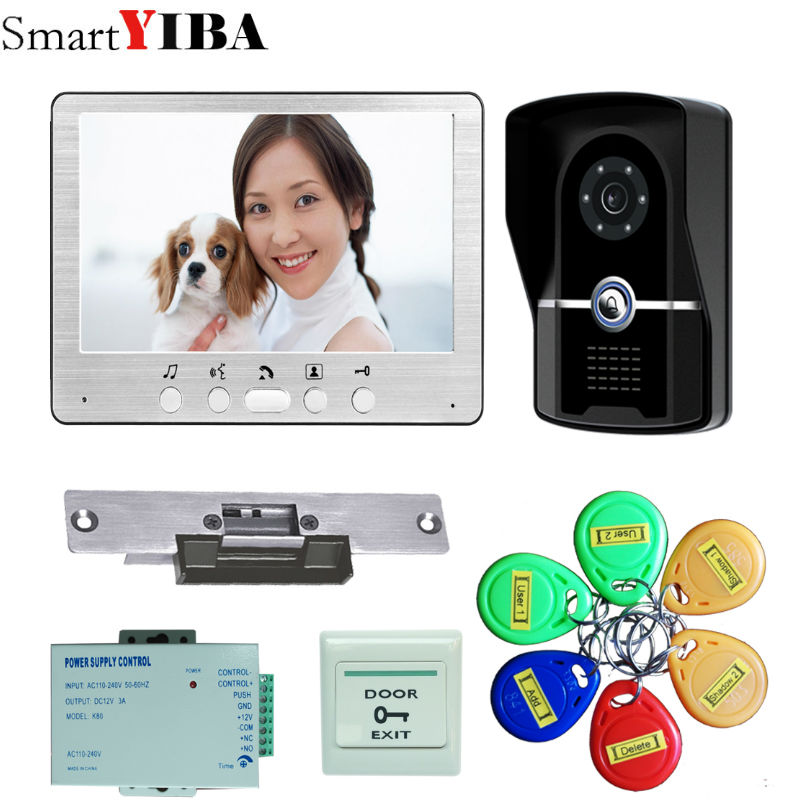SmartYIBA 7 Inch LCD Color Video Door Phone Intercom System Weatherproof Night Vision Camera Home Security FREE SHIPPING