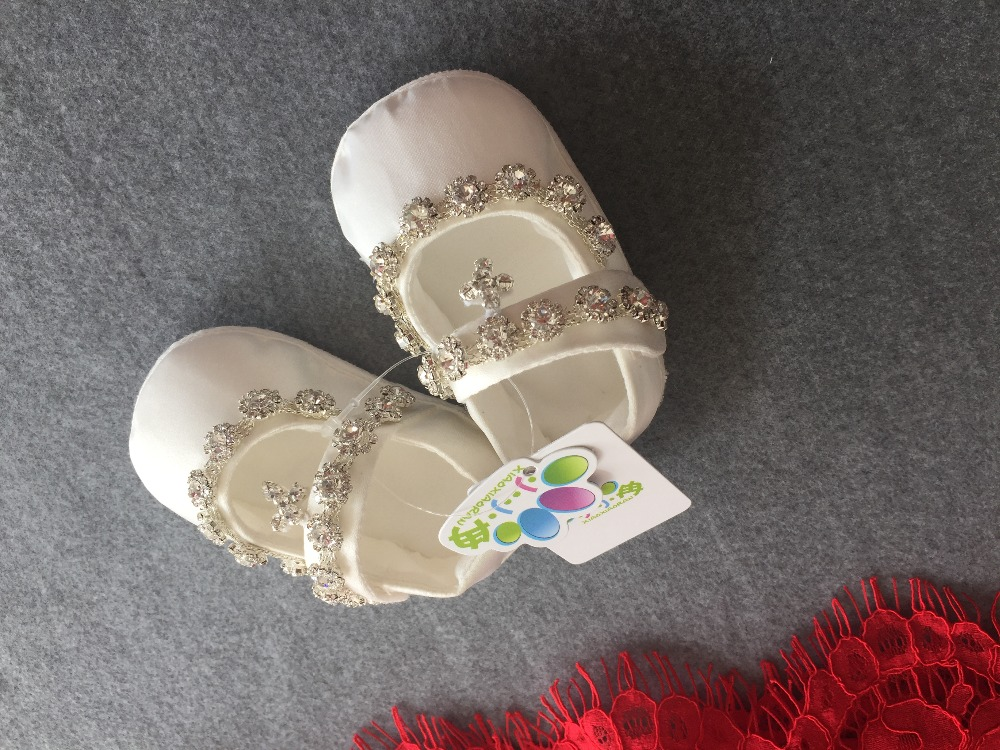 newborn todddeler baby shoes white crystal baby Walk shoes Christening shoes