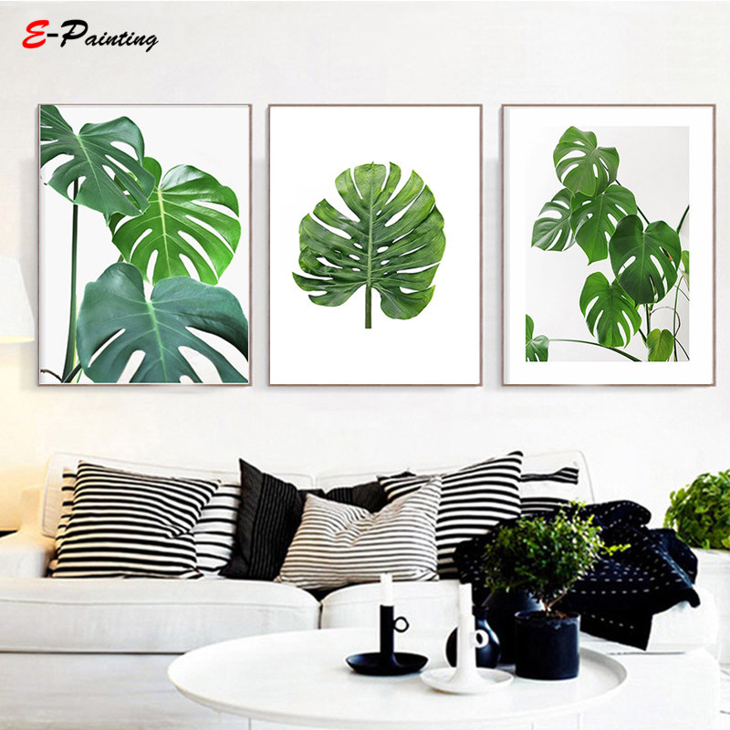Watercolor Green Plants Monstera Nature Posters And Prints: Modern Canvas Wall Art Monstera Print Printable Green