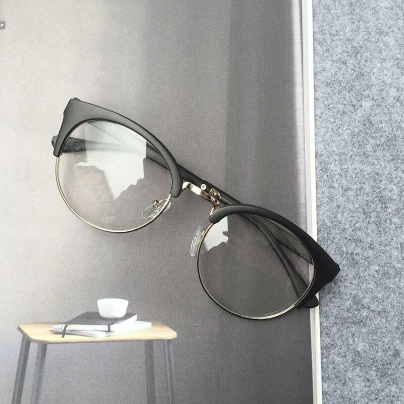 RBUDDY Fake Round Clear Glasses Halvrama Glasögon Transparent Ramar - Kläder tillbehör - Foto 3