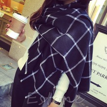 Lady Women Blanket Black White Plaid Cozy Tartan Checked Scarf Wraps Shawl-J117