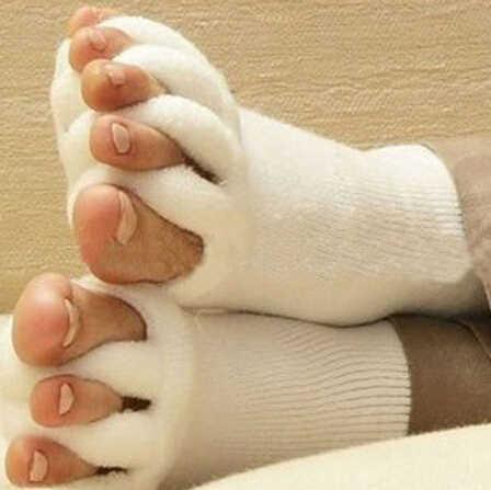 1 คู่ผู้ชายผู้หญิงถุงเท้า Sleeping Health Foot Care Toe ถุงเท้าห้านิ้วนิ้วเท้าการบีบอัด Treatment