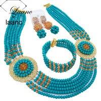 Laanc Fashionable African Bead Necklace Aqua Blue Gold AB Jewelry Set Nigerian Wedding Jewelry Sets PHJZ001