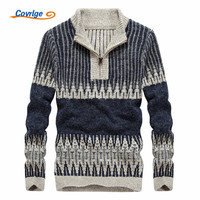 Covrlge 2017 Men S Sweaters Casual O Neck Zipper Striped Autumn Winter Fashion Christmas Sweater Men