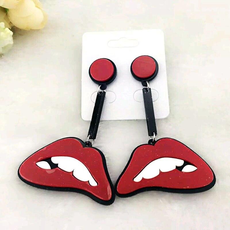 ᗑ1pair Bohemian Sexy Red Lips Long Earrings Women Brincos Jewelry