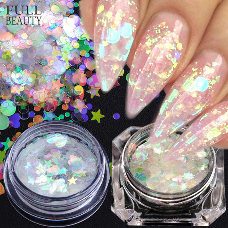 Penuh Kecantikan AB Warna Kuku Glitter Flakes Putri Duyung Bunglon Payet Bubuk Tidak Teratur Bintang Jantung Bulat Kuku Seni Dekorasi CH870