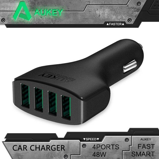 AUKEY 4 Порты USB Автомобильное Зарядное устройство 48 Вт/9.6A Универсальный мобильный телефон автомобильный Зарядное устройство адаптер для iPhone 7/ 6/6 S samgsung Sony HTC Планшеты PC