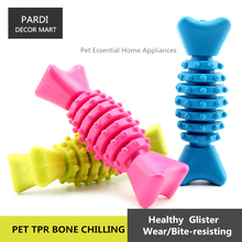 TPR eco-friendly pet toy Bone chilling shape rubber toy bite molar relax pet toy molar toy bite resistance 1pc/lot