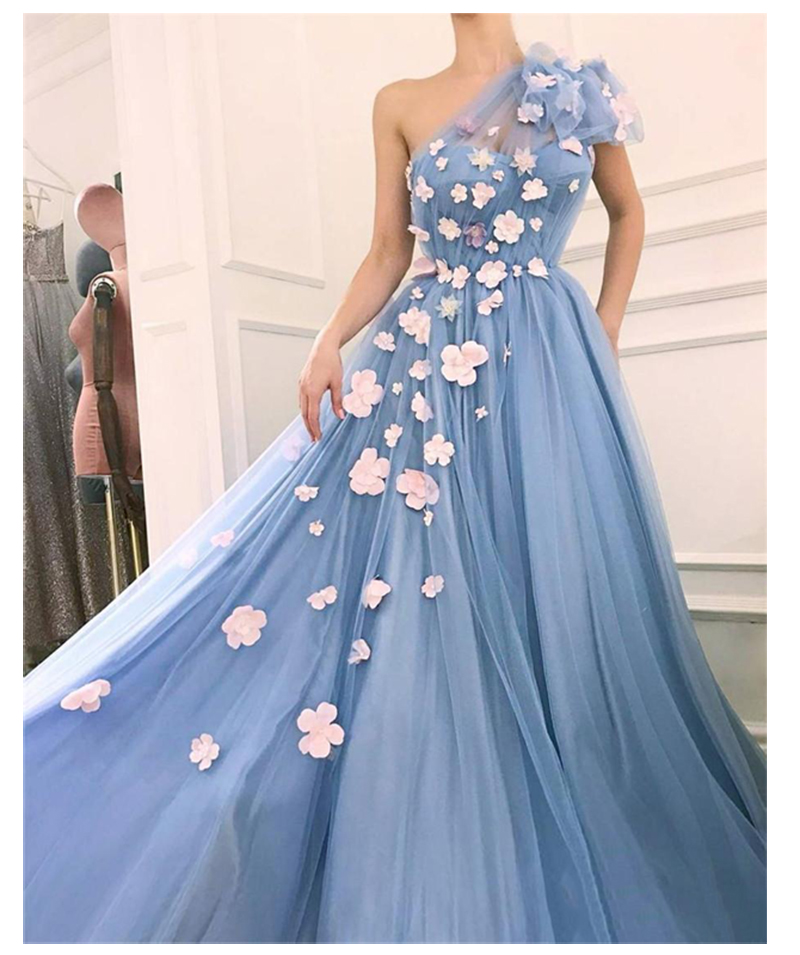 3D Flowers Wedding Party Dress One Shoulder Tulle A Line