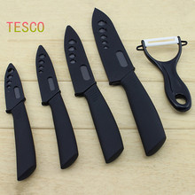 2015 Hot Sale zirconia ceramic knife set 3″ 4″ 5″ 6″ inch + Peeler + covers black blade black colors handle home kitchen knives