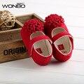 2016 Nuevo Bebé de La Manera Zapatos de Las Niñas de Algodón Rojo Suela Blanda resbalón-prueba de Niños Lindos Niño Zapatos Primeros Caminante 1 Pair Fit 0-18 meses