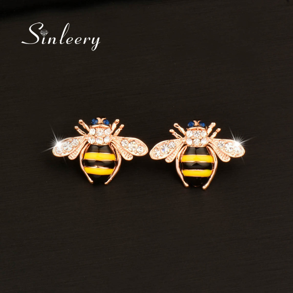 a9fc3fb7d SINLEERY Fashion Jewelry Cute Cubic Zirconia Solid Little Bee Animal Stud  Earring For Women Girl Gifts Rose Gold Color ES774-in Stud Earrings from  Jewelry ...