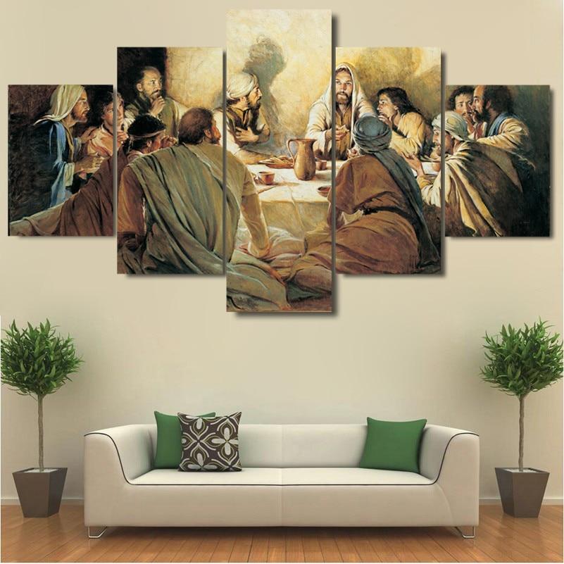 Abstrakte Moderne Dekoration Leinwand Gedruckt Malerei 5 Panel ...
