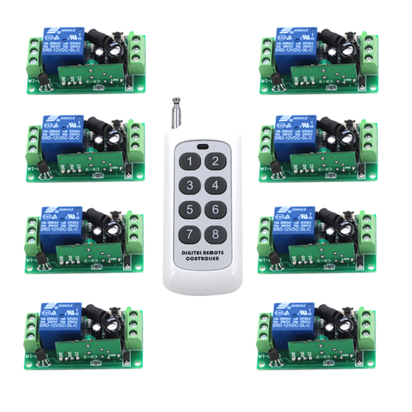 8CH 8Buttons Key RF Wireless Remote Control Radio Controller Transmitter Controller for 1CH 8PCS Receiver Switch
