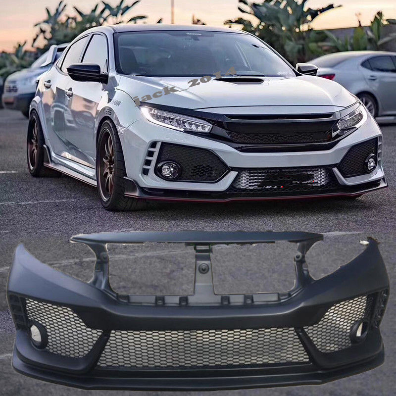 unpainted front bumper cover fit for 2016 2017 2018 honda civic sedan type-r  style