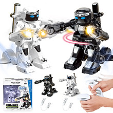 RC intelligent robot 2.4G Body Sense Battle remote control robot Combat Toys For Kids Gift Toy With Box Light And Sound Boxer(China)