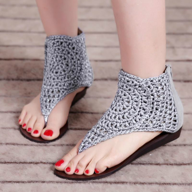 Womens Hand knitted Boho Small Wedge Heel Back Zipper Gladiator Rome Sandals Shoes Footwear in Low Heels from Shoes