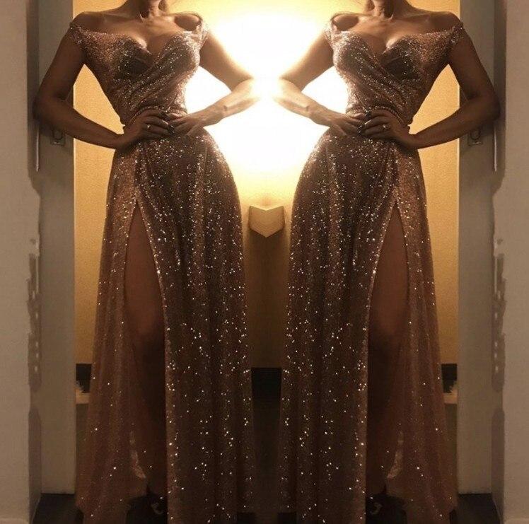 Cinderella Shining Sweetheart Off The Shoulder Side Slit Sequins Pleated Evening Dresses Gold Floor Length Evening Dresses