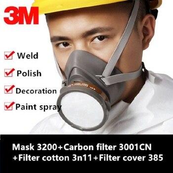 3M 3200 Gasmasker masker Echte Veiligheid 3001CN Carbon Bus Tegen Organische Stoom Schilderen Pesticide Beschermende Masker