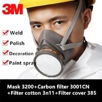 Máscara respiradora de gás genuíno  3 m 3200 respirador de segurança 3001cn canister de carbono contra pintura a vapor orgânica  máscara protetora de pesticida