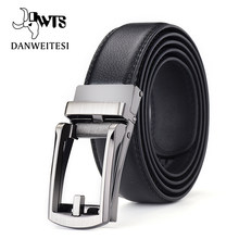 [DWTS]Top quality cow genuine leather men's belt cowhide strap for male automatic buckle belts for men alloy buckle belt(China)