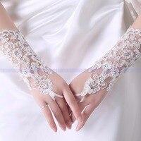 Fashion white Lace beading Bride Wedding Gloves Bridal Fingerless Gloves vintage Long Wedding Accessories x07013