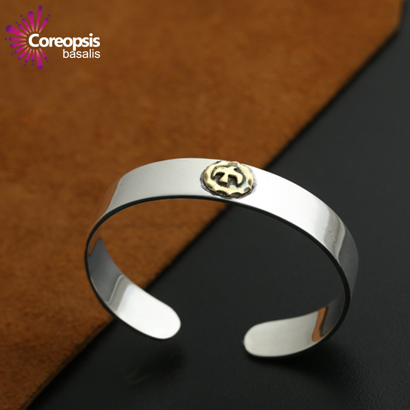 Simple male and female smooth ring point Golden flying eagle opening bracelet hand ring Bracelet Thai 925 Silver Bracelet fenlu xysl 012 cool eagle shaped pu zinc alloy bracelet w ring black silver