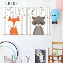 Woodland Forest Animal Fox Bear Wall Art Canvas Painting Poster Print Nursery Decorative Picture Modern Cartoon for Kids Room