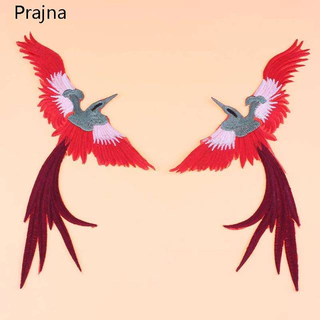 Prajna Phoenix Mirror Patch Flying Bird Large Stripe Handmade Embroidered  Patch Sewing Iron On Applique Clothing beb3d2592ede