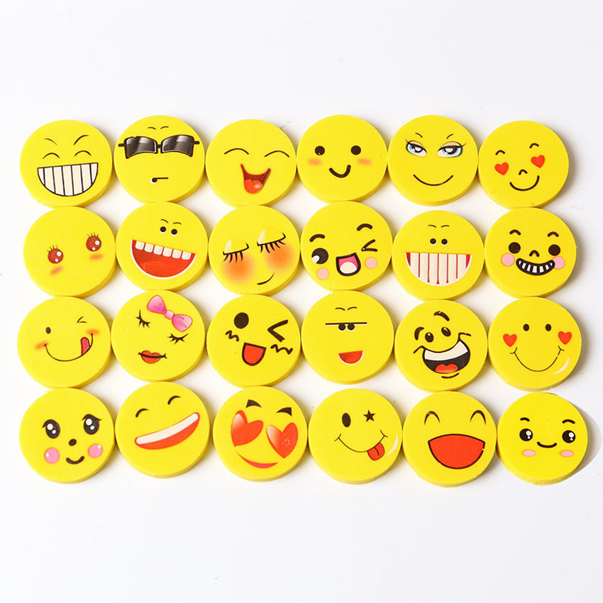 4 PCS Mini Cute Cartoon Kawaii Rubber Smile Face Eraser for Kids Gift School Supplies цена