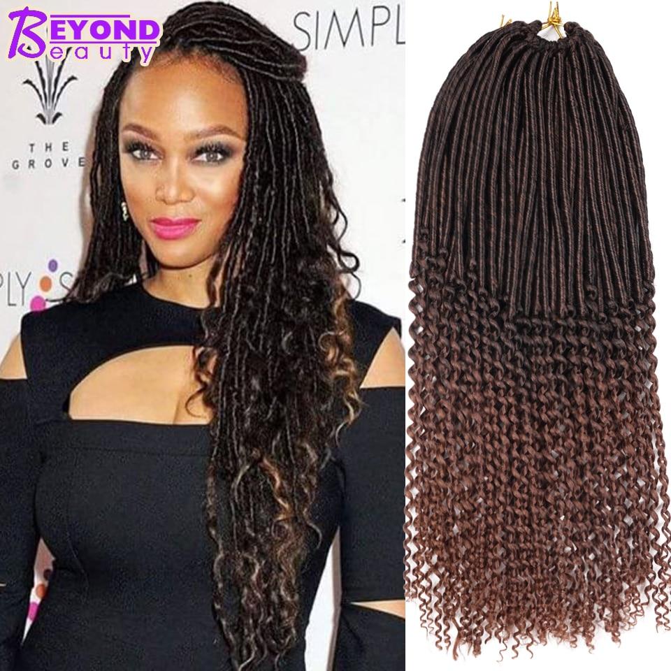 20inch Goddess Burgundy Faux Locs Crochet Hair 24Root Curly Faux Locs Hair Braids 90g Crochet ...
