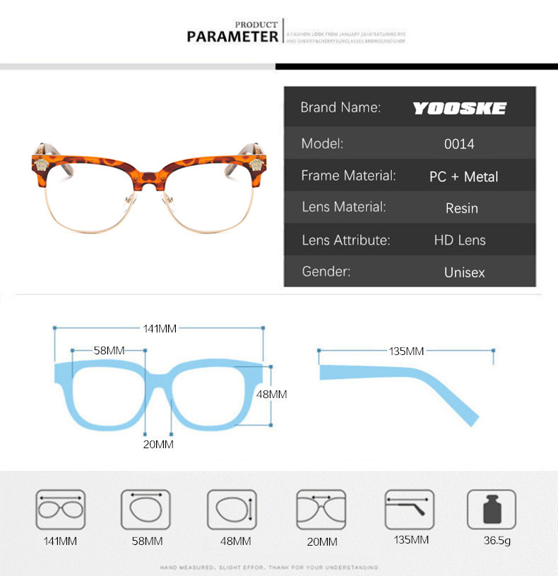 c33ea6418f6 2019 YOOSKE Fashion Clear Sunglasses Women Men Optics Prescription ...