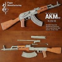 1:1 Scale 87cm AKM AK47 Paper Model 4 Colors Paper Model Gun DIY Papercraft Toy