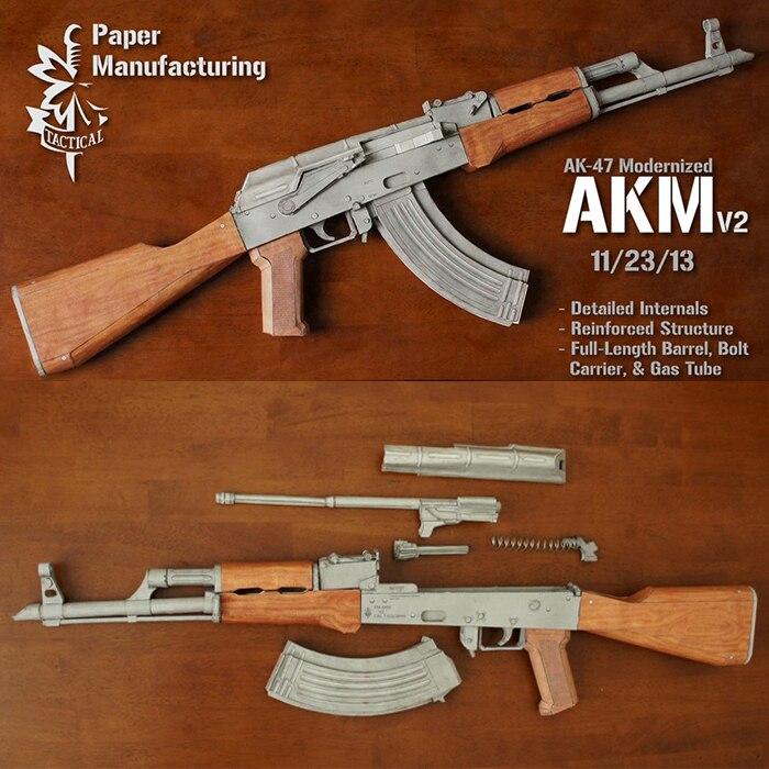 1:1 escala 87cm AKM AK47 modelo de papel 4 colores modelo de papel pistola DIY Papercraft juguete 1 botella Y 20000 Uds bala de agua para pistola de juguete de cuentas puede contener 200 Uds bala usada para todos Barret M4A1 P90 AK47
